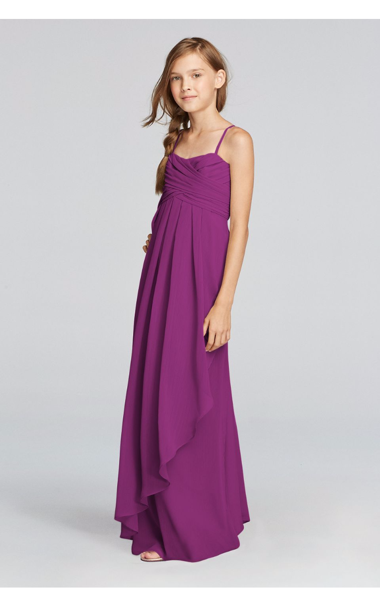 Junior Bridesmaid Spaghetti Strap Dress with Side Cascade Ruffle JB9012