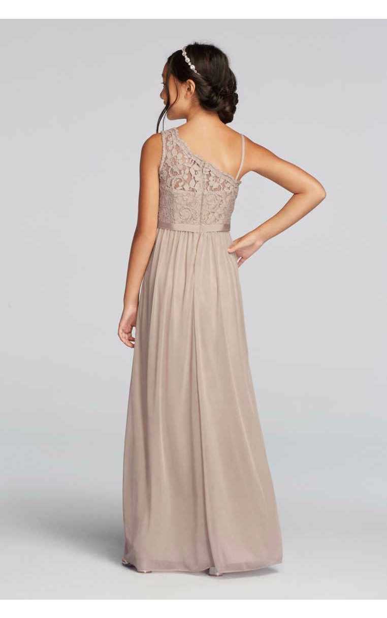 New One Shoulder Junior Bridesmaid Long Chiffon Lace Bodice Dress Style JB9014