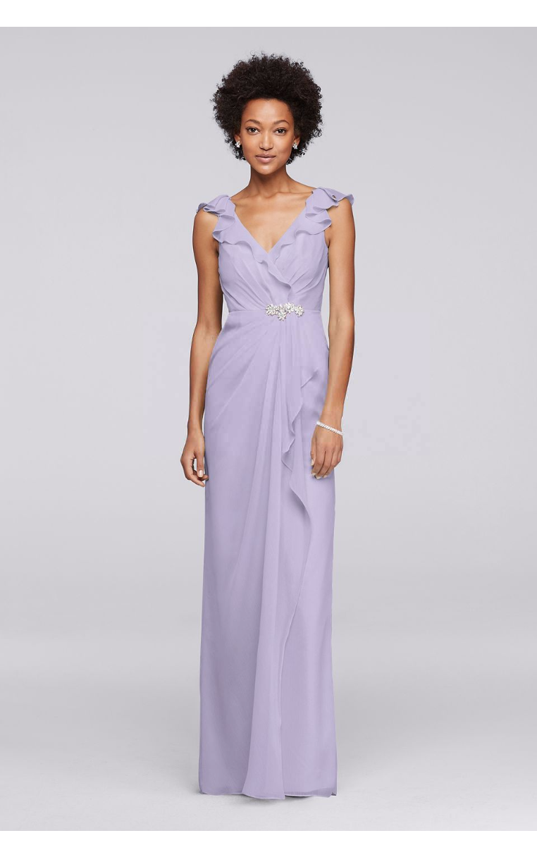 Elegant Long Chiffon JP291749 Style Bridesmaid Dresses with Gathered Bodice and Beaded Brooch