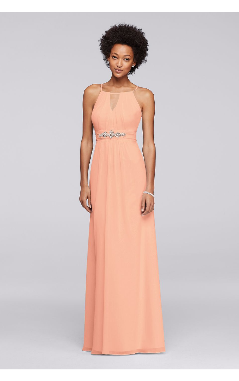 Long Chiffon JP291757 Bridesmaid Dress with Keyhole and Beading