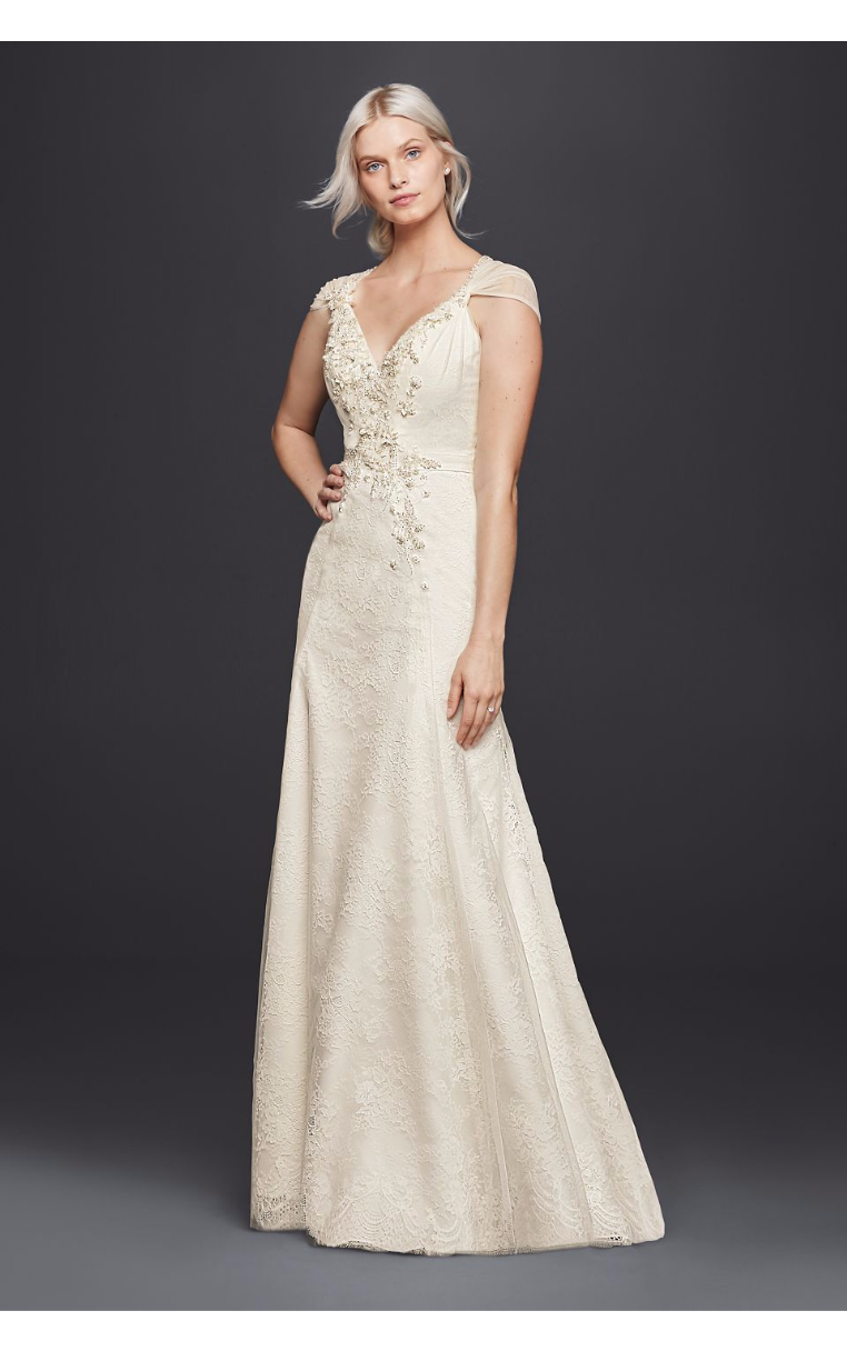 Charming New Coming Cap Sleeves Sheath V-Neck Wedding Dress with Floral Applique JP341703