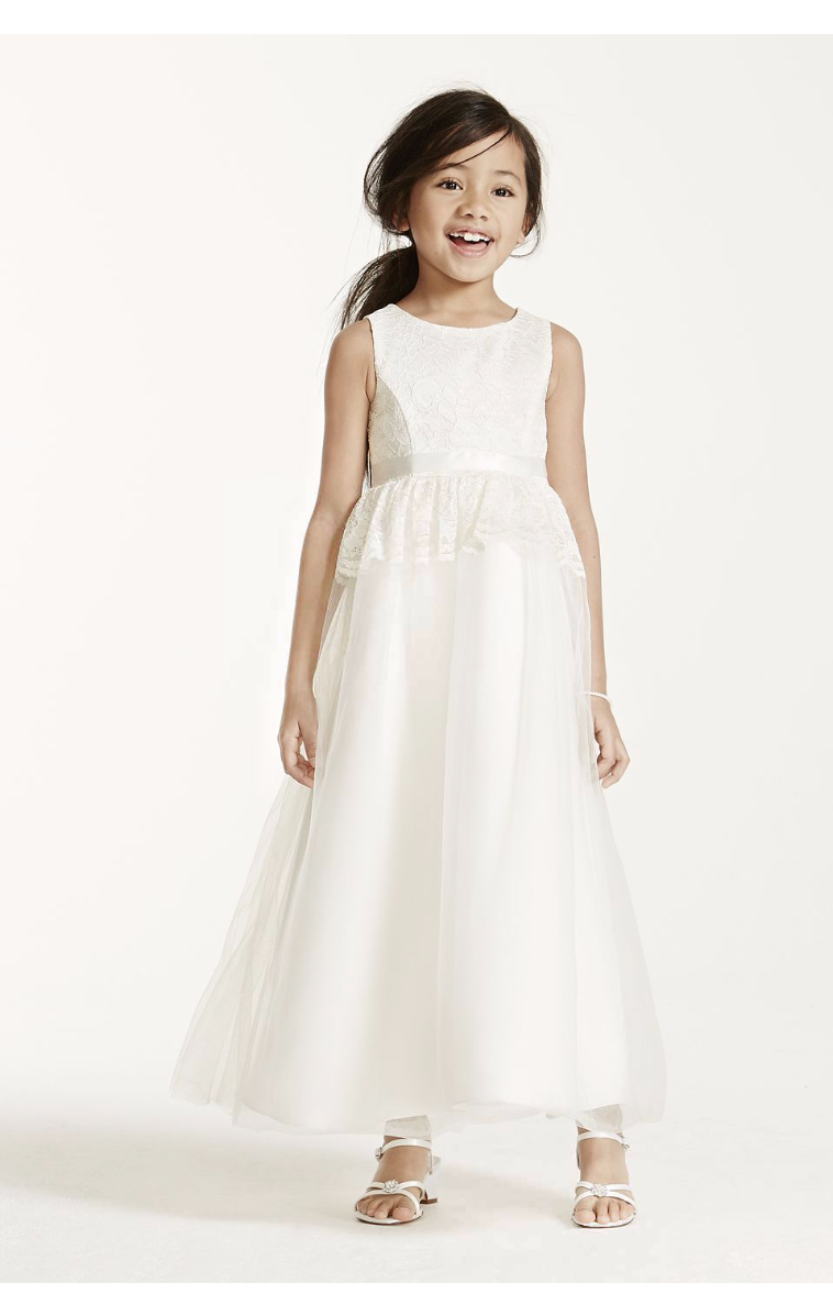 Tank Lace Peplum Detail Embellished Flower Girl Ball Gown KP1339
