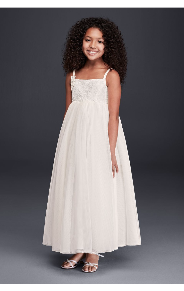 Tank OP212 Full Tulle Lace Applique Flower Girl Ball Gown with Straps