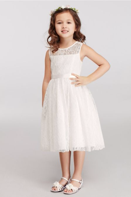 All Over Lace Knee Length Flower Girl Dress for Wedding Party OP226