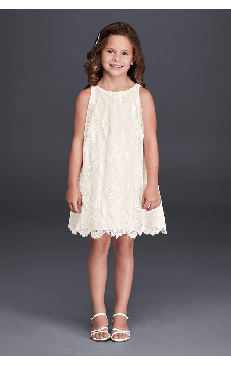 Darling Lovely Sleeveless All Over Lace Flowr Girl Dress with Scalloped Hem RK1361