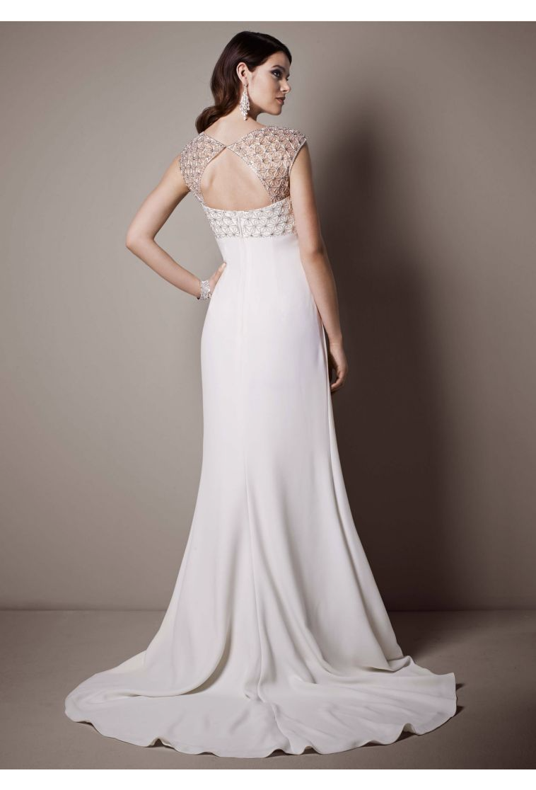 Cap Sleeve Crepe Sheath Gown with Beaded Bodice Style SRL644