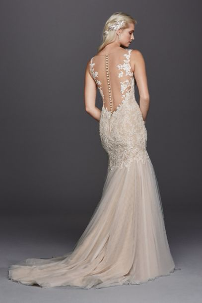 New Illusion Back V-neck Lace Tulle Trumpt SWG723 Wedding Gowns