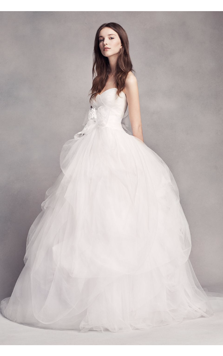 White by Vera Hand-Draped Strapless Sweetheart Neckline Tulle Wedding Dress Style VW351339