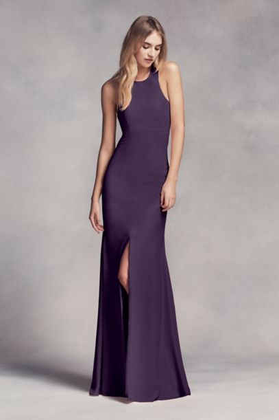 Long VW360297 Halter Bridesmaid Gown with Side Slit