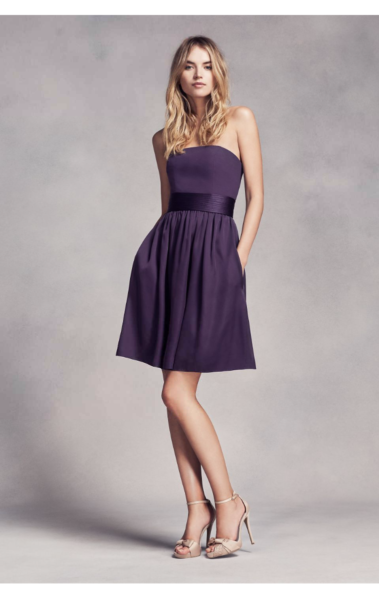 New Arrival Fashion Strapless Short Above Knee Length Bridesmaid Dress with Belt VW360306