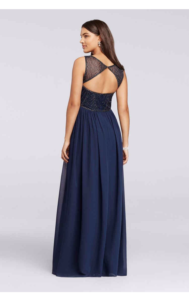 Long Beaded Illusion Sweetheart Neckline Sleeveless Chiffon Bridesmaid Dresses W10156