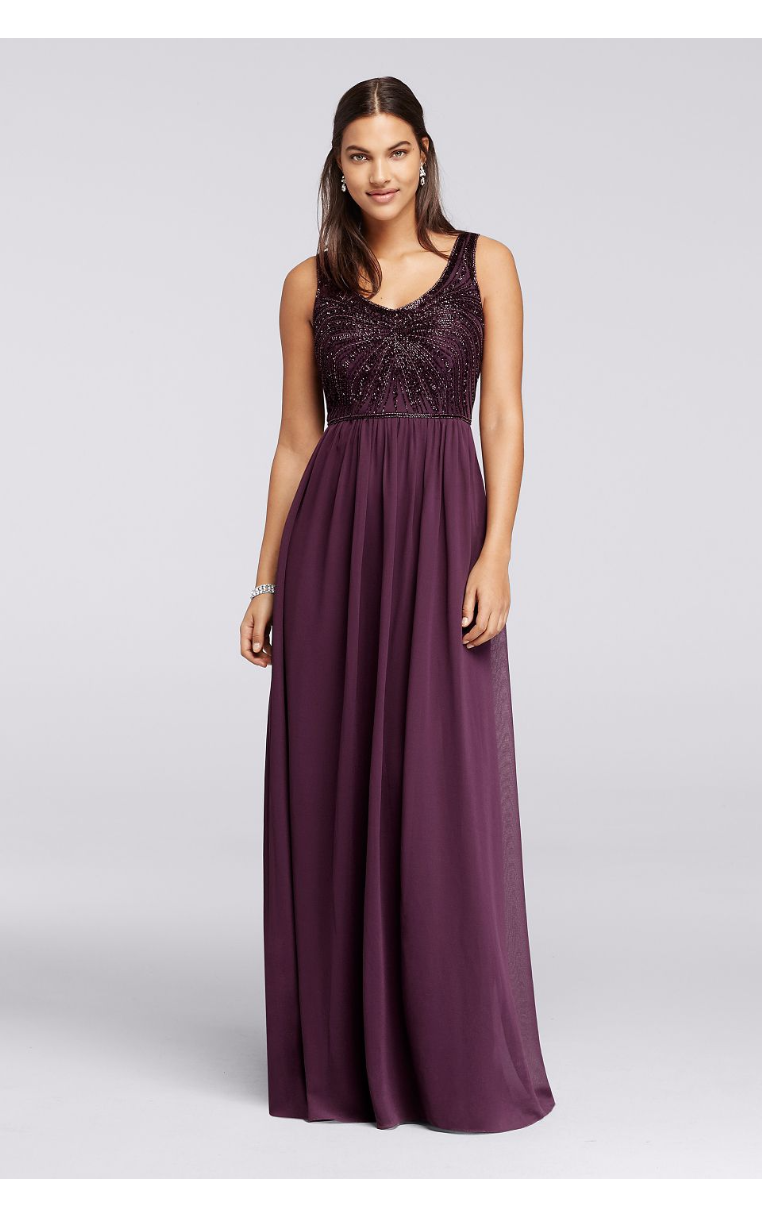 New Coming Long Beaded V-neckline Chiffon Bridesmaid Gowns W10162 Style