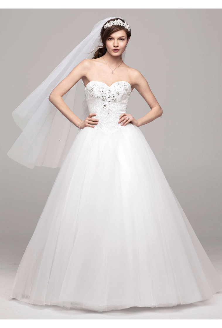 Elegant New Come Strapless A-line Tulle Bridal Dresses with Beaded Bodice