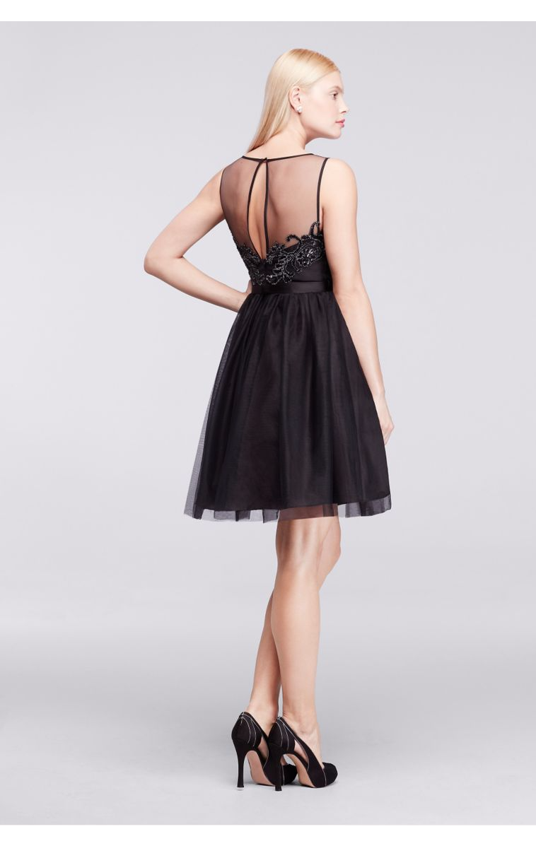 New Arrival Illusion Bateau Neckline Short Sleeveless Tulle and Satin Party Dress ZP281653