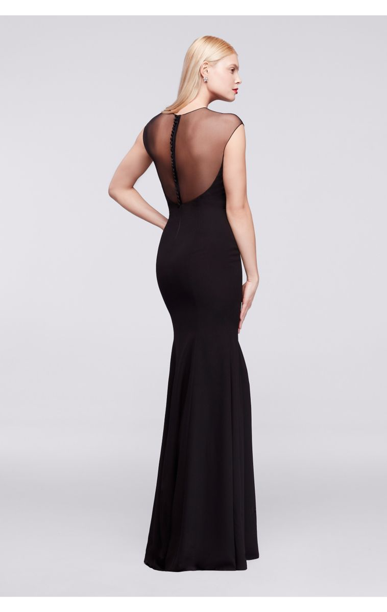 Unique Design ZP281656 Sstyle Long Birdesmaid Dress with Sheer Cap Sleeves and Appliques