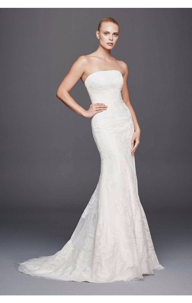 Modern New Coming ZP341636 Pattern Strapless Lace Wedding Gown