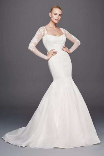 Illusion Long Sleeves Mermaid Bridal Gowns ZP341640